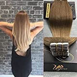 Ugeat 16 inches Ombre Pu Tape in Hair Extensions Real Remy Human Hair Extensions Color Ash Brown with Golden Blonde Glue in Extensions 50g 20pcs