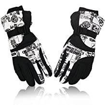 YUEDGE Men's And Women's Windproof Snowproof Ski Snowboard Motorcycle Gloves Winter Snow Warm Gloves(L White)