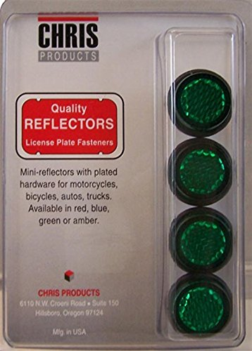 (Chris Products CH4G Green Motorcycle Mini License Plate Reflector, 4 Pack)