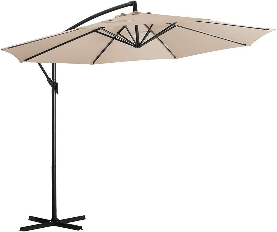 Deponel Offset Umbrella 10ft Patio Cantilever Umbrella Hanging Outdoor Umbrellas with Crank & Cross (Beige, 10 FT)