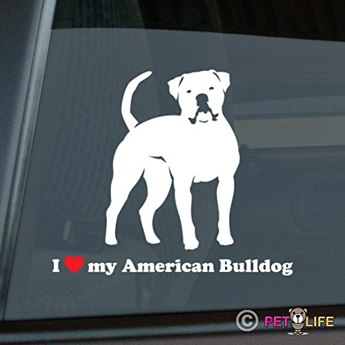 Love Bulldogs (I Love My American Bulldog Sticker Vinyl Auto Window bully)