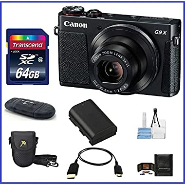 Canon PowerShot G9 X Digital Camera (Black) Pro Bundle includes: 64GB SDXC Class 10 Memory Card, Card Reader, Case, Spare Battery & more...