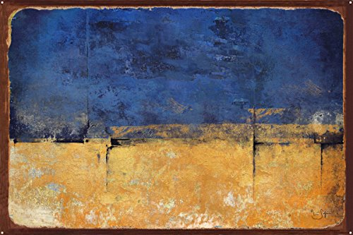 Northwest Art Mall Blue & Gold Abstract Painting Rustic Meta