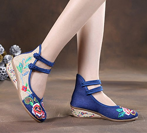 Avacostume Oude Peking Borduurwerk Juweel Rubberen Enige Wig Kleding Schoenen Blauw
