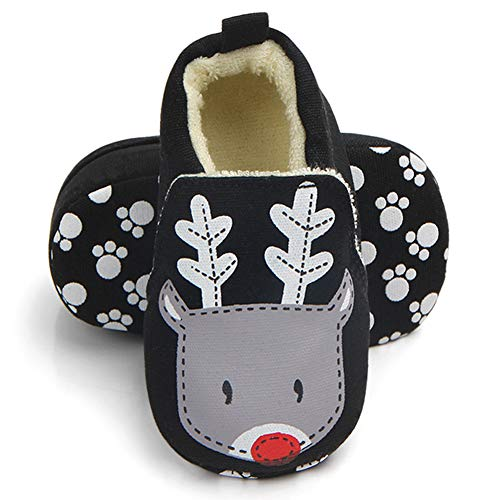 Sawimlgy US Infant Baby Non Skid Adjustable Slippers Boys Girls Fleece Booties with Grippers Cartoon Moccasins Socks Frist Crib Shoes (L:12-18 Months, G-Reindeer)