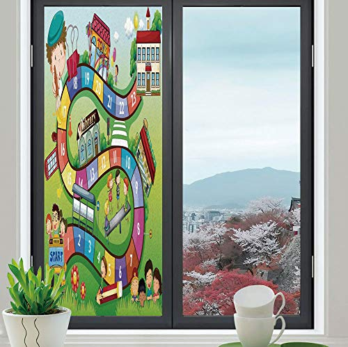 YOLIYANA Privacy Frosted Decorative Vinyl Decal Window Film,Board Game,for Bathroom, Kitchen, Home, Easy to Install,School Kids on Bus Playing in Garden Educational,24''x70'' from YOLIYANA