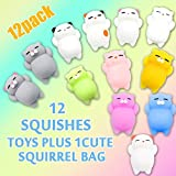 Morye 12 Pcs Mochi Squishies Toys Kawaii Animal Cute Design Soft Cats Stress Decompression Reliever Kids Toy Gift with Lovely Package
