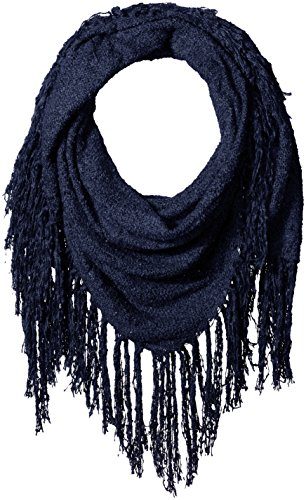 D&Y Women's Solid Boucle Square Scarf with Exagerated Fringe Trim, Navy, One Size