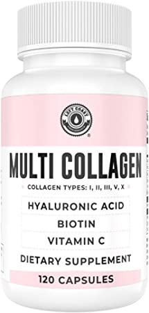 Collagen Capsules with Biotin, Hyaluronic Acid, Vitamin C.. Hydrolyzed Multi Collagen Peptide Caps. Types I, II, III, V, X. Collagen for Skin, Hair, Nails and Joint Health Supplement*. 120 Count