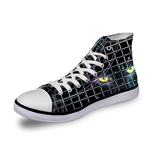 Per Te Disegni Classici Scarpe Da Uomo Di Tela Nera Animali Sneakers Sportive Alte Occhi Di Gatto