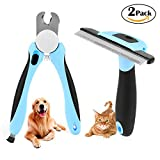 Dog Nail Clipper and Grooming Brush 2 Pack - Honfei Pet Grooming Tools Kit - Pet Safety Guard Nail Clippers with Sharp Stainless Blades and Retractable Puppy Dog Deshedding Grooming Comb