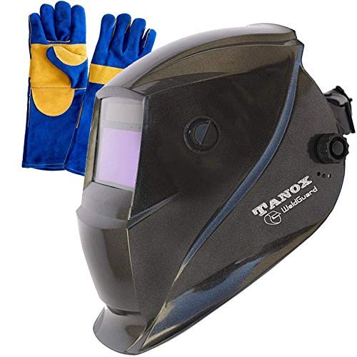 Welder Tig Glove Mig (Tanox Auto Darkening Solar Powered Welding Helmet ADF-206S: Shade Lens, Tig Mig MMA, Adjustable Range 4/9-13, Grinding 0000, Plus 16 Inch Kevlar Fire Retardant Welding Gloves)