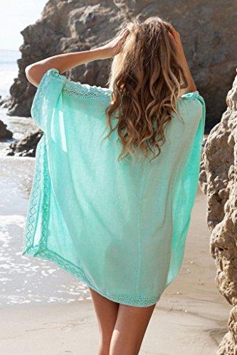Bigood Robe de Plage Femme Sexy Col V Profond Lâche Casual Voyage Piscine Vert