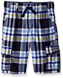 Gymboree Little Boys' Drawstring Plaid Cargo Shorts, Blue Plaid, 8