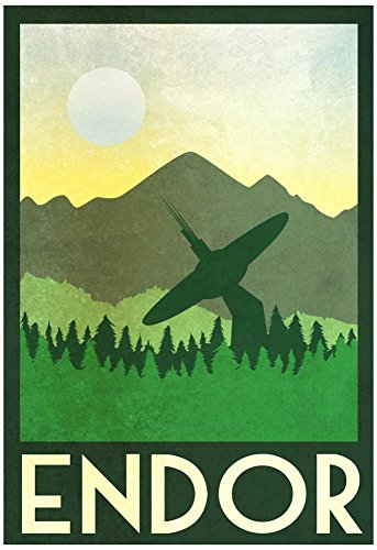 Endor Retro Travel Poster with Hanger