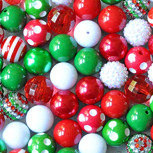 Christmas Red and Green 20mm Chunky Bubblegum Beads 50 Pc Set (Christmas Beads)
