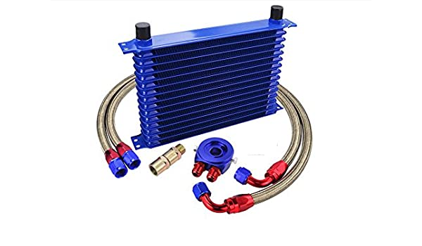 Kit Radiador de Aceite Oil cooler 15 Filas Universal: Amazon.es ...