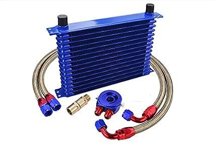 Kit Radiador de Aceite Oil cooler 15 Filas Universal: Amazon.es ...