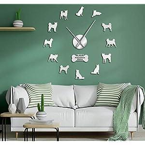 Gddyzs Frameless Large 3D DIY Wall Clock American Akita Dog Breed Self Adhesive 3D DIY Wall Clock Akita Owner Gift Living Room Unique Design Mirror Sticker Wall Watch Silver 21
