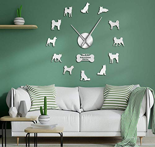 Gddyzs Frameless Large 3D DIY Wall Clock American Akita Dog Breed Self Adhesive 3D DIY Wall Clock Akita Owner Gift Living Room Unique Design Mirror Sticker Wall Watch Silver 1