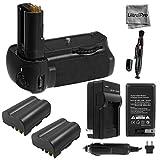 Battery Grip Bundle F/ Nikon D90: Includes MB-D80 Replacement Grip, 2-Pk EN-EL3e Replacement Long-Life Batteries, Charger, UltraPro Accessory Bundle