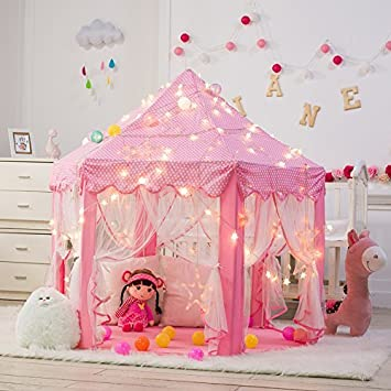 DeceStar Cute Pink Princess Castle Kids Indoor Playhouse, Comes with ...