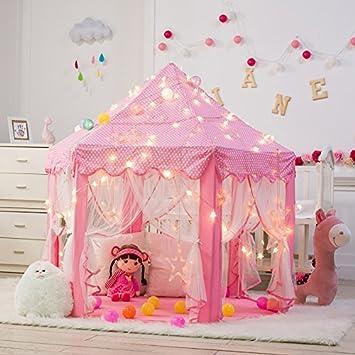 DeceStar Cute Pink Princess Castle Kids Indoor Playhouse, Comes ...
