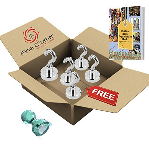 MIGHTY MAGNETIC HOOKS- The ONLY 35lb Heavy Duty Neodymium magnetic hook with a FREE Hook (3+1) and an eBook- Multiuse for organizing ()