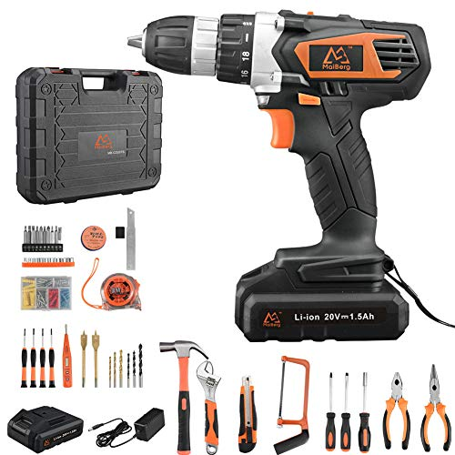 Cordless Drill, 20V Cordless Drill Driver 2×1.5Ah Batteries, Fast Charger 1.3A, 57Pcs Accessories, 18+1 Torque Setting, 2-Variable Speed Max Torque 250 In-lbs, 3/8″ Keyless Chuck