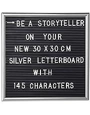 Relaxdays letterbord, 145 letters, cijfers, tekens, om in de rillen te steken, 30x30 cm, kunststof, in div. kleuren