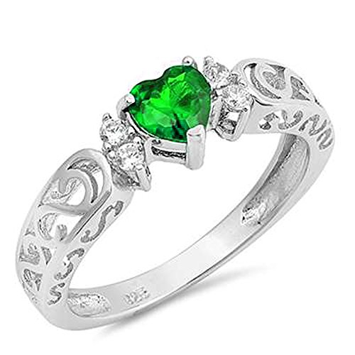 Emerald Gemstone Heart (Oxford Diamond Co Sterling Silver Heart Gemstone Promise Engagement Love Antique Filigree Ring sizes 5-10)