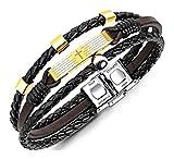 Xusamss Hip Hop Religion Titanium Steel Cross Spain Scripture Leather Bracelet,8.0'' Wrist