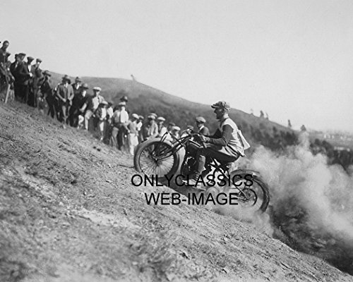 OnlyClassics 1924 DANGEROUS EARLY MOTORCYCLE HILL CLIMB RACING ACTION 8X10 PHOTO VINTAGE AMERICANA