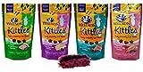 Wellness Kittles Grain Free Cat Treats 4 Flavor with Toy Bundle, (1) Each: Duck, Whitefish, Tuna, Salmon (2 Ounces)