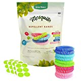 Green-Nature Mosquito Repellent Bracelet for Kids,Adults & Pets,100% Natural Deet-Free Waterproof Travel Insect Repellent Bands,Non-Toxic Safe Wristband 10 Pack with 24 Patches for Maximum Protection
