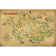 Best Print Store - Disney Inspired, Peter Pan, Neverland Map Poster (18x24 inches)
