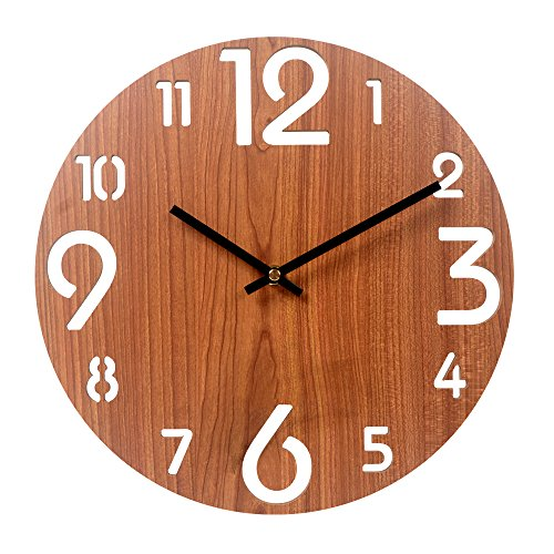 Cheap Vitaa 12 Inch Retro Wooden Wall Clock,Silent Non Ticking Decorative Wall Clock,Vintage Rustic Country Tuscan Style Round Wall Clock,Quartz Battery Operated (413)