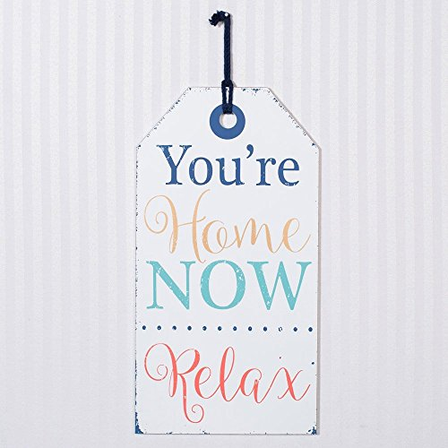 You're Home Now Relax 16 x 8.5 White Wood Wall Tag and Jute Rope Sign Plaque from Adams and Co