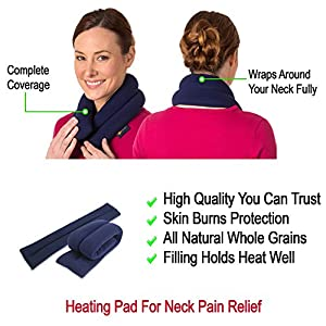 Microwave Heating Pad For Neck Pain Relief, Extra-Long Flax Seeds Bean Bag For Muscle Pain Relief, Hot & Cold Therapy Wrap, Neck Shoulder Back Heat Pack, Warm Compress, Personal, Reusable - Canyon