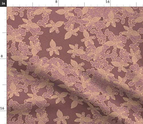 - Mauve Orchid Fabric - Faux Lace African Afrocentric Floral Print on Fabric by The Yard - Sport Lycra for Swimwear Performance Leggings Apparel Fashion
