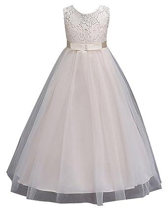 ZhuiKun Mädchen Kleider Prinzessin Kleid Lang Blumenmaedchenkleid ...