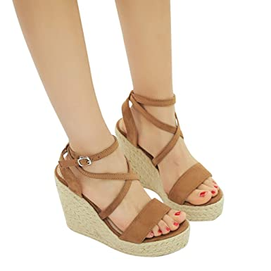 489bce80864 Gyouanime High Heel Wedge Sandals Shoes Peep Toe Cross-Strap Beach Sandals  Shoes Outdoor Dress
