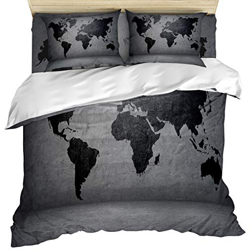 (Vintage Modern 4 Piece Bedding Set Comforter Cover Duvet Cover Set Twin Size, Grunge World Map Island Continents on The Globe Artful Design, Bedspread Daybed with Zipper Closure 2 Pillow)