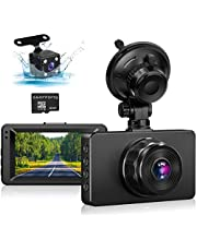 "Dash Cam Front and Rear Camera, Car Camera Dash Cam 1080P FHD Dash Camera 3""IPS Screen Dashboard Camera Night Vision,170°Wide Angle Motion Detection Parking Monitor G-Sensor Car Dash Cam(with SD Card)"