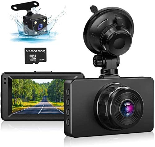 "Dash Cam Front and Rear, Dash Camera for Cars 1080P Full HD Dual Dash Cam 3"" IPS Screen in Car Camera Front and Rear Night Vision,170°Wide Angle Motion Detection Parking Monitor G-Sensor(with SD Card)"