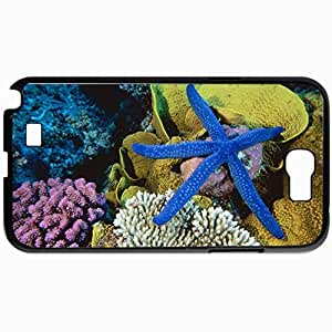 Personalized Protective Hardshell Back Hardcover For Samsung Note 2, Blue Star Fish Design In Black Case Color