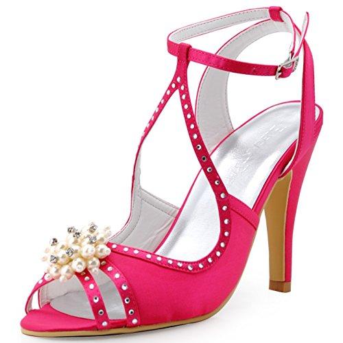 clearance discount ElegantPark Women High Heel Pumps Peep Toe Pearls Straps Evening Prom Bridal Wedding Sandals Hot Pink popular sale online official 5VK3Beu95