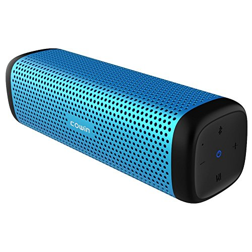 COWIN 6110 Bluetooth Speakers, Portable Wireless Speaker 4.1 with 16W Enhanced Bass, High-End Fashion Aluminum-Alloy Shell, TF Card Support – Blue