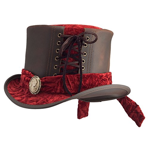 American Hat Makers Havisham-Burgundy curtsy Band by Steampunk Hatter Leather Top Hat, Brown-Burgundy curtsy Band - (Patent Leather Hat Band)