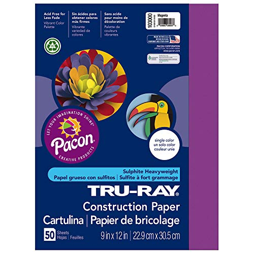 Tru-Ray Heavyweight Construction Paper, Magenta,  9